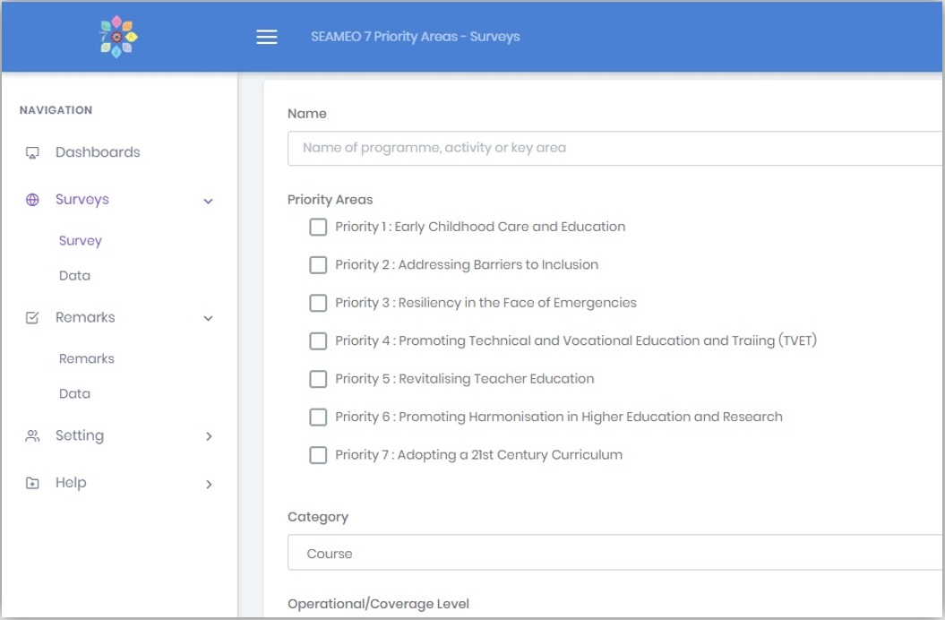 SEAMEO 7 Priority Areas Surveys